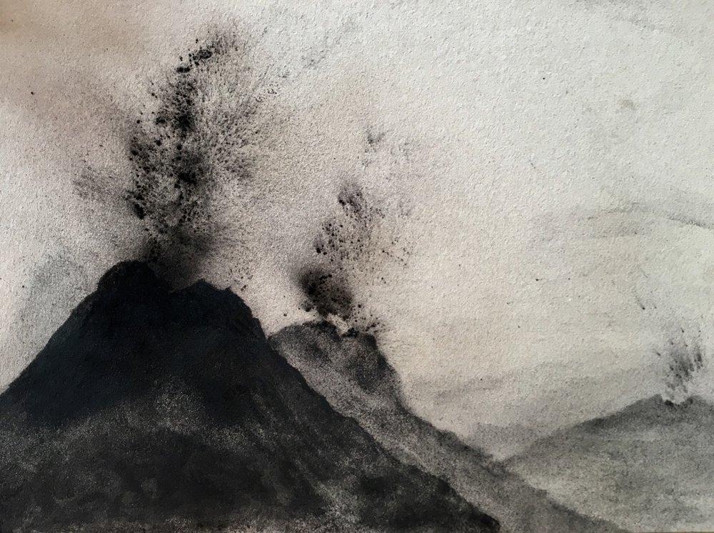 I blew charcoal on spray painted glue on the paper to create a textured volcano effect. I am finding I like to experiment with materials and get away from making perfect drawings.
