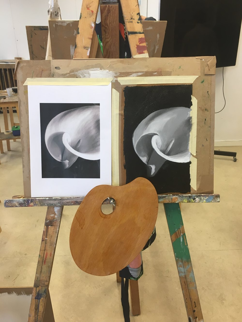 Black and white oil painting. Might I add that we oiled our own cheap artist palette - apparently companies jip amateur painters by selling fancy palettes when all you need is a sanded down one and can linseed oil it yourself!