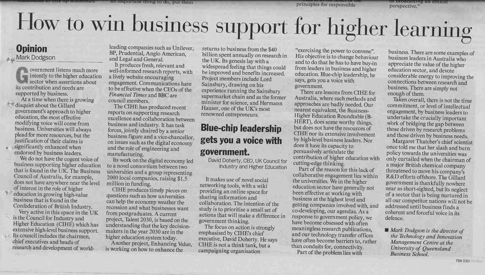 """How to win business support for higher learning"" 01/08/2011"