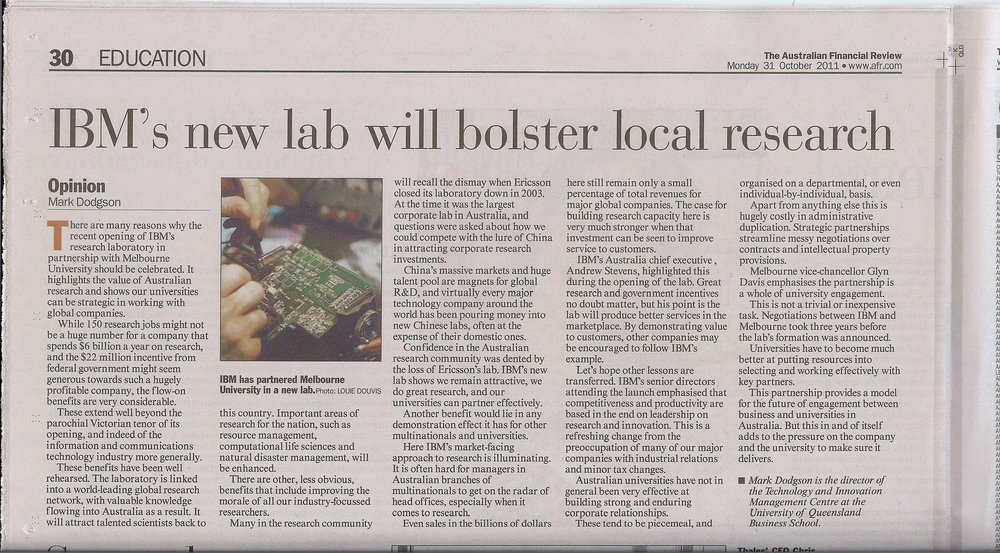 """IBM's new lab will bolster local research"" 31/10/2011"
