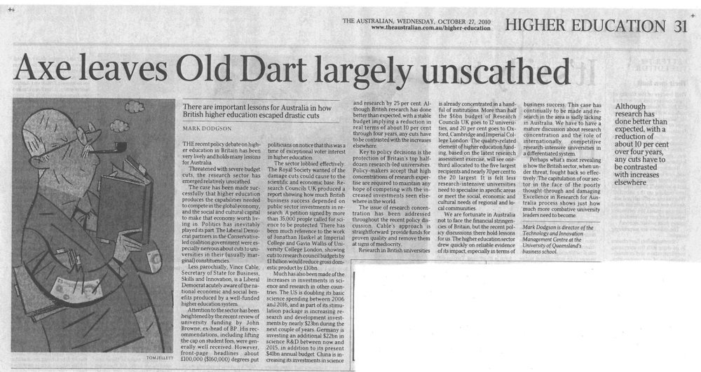 """Axe leave Old Dart largely unscathed"" 27/10/2010"