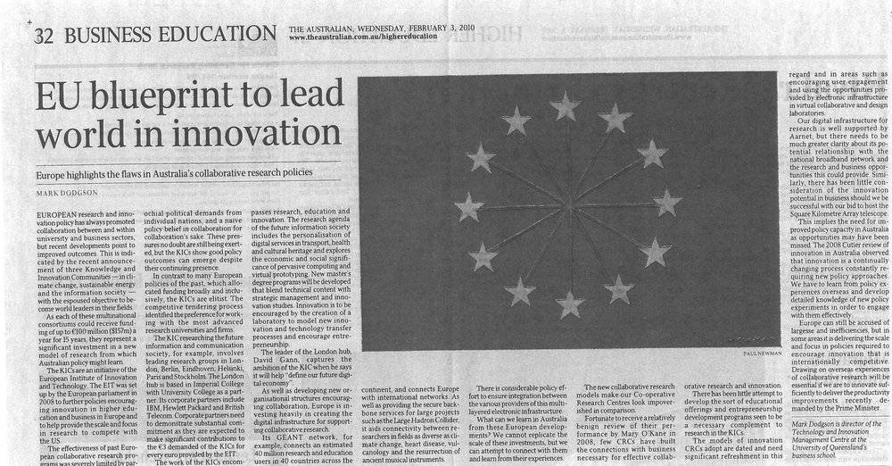 """EU blueprint to lead world in innovation"" 03/02/2010"