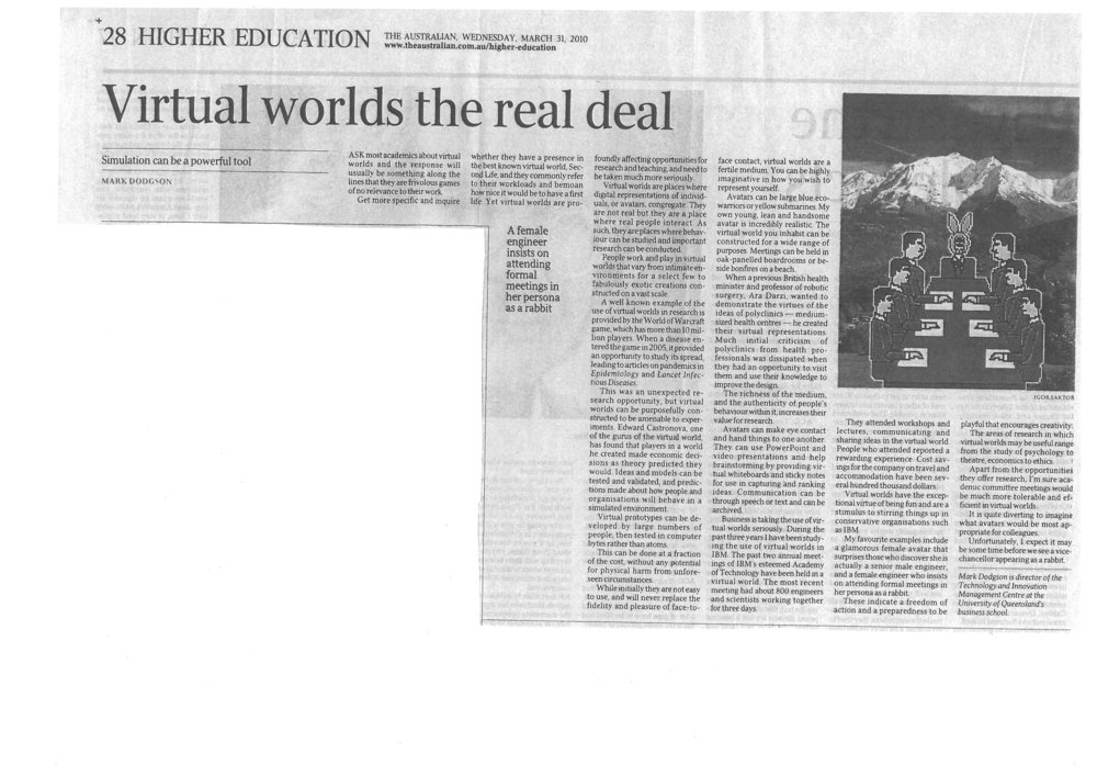 """Virtual worlds the real deal ""31/04/2012"