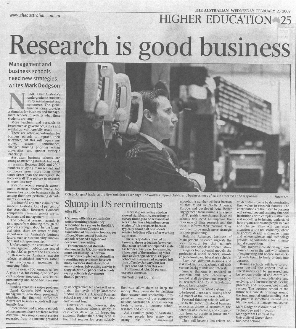 """Research is good business"" – on the need for business schools to improve their research performance 25/02/2009"