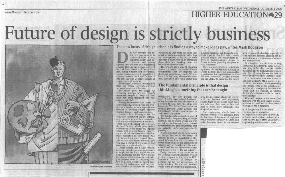 """Future of design is strictly business"" – on the importance of design in the management curriculum 01/09/2008"