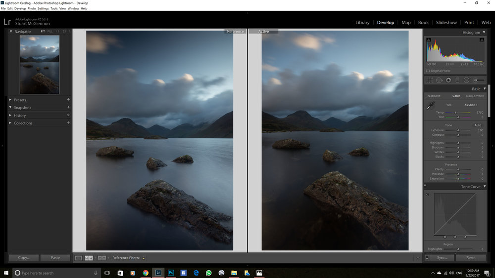 Test 3: RAW Comparison -   Formatt-Hitech Firecrest 6-stop ND (left) vs Progrey Aurora 7 stop ND (right)