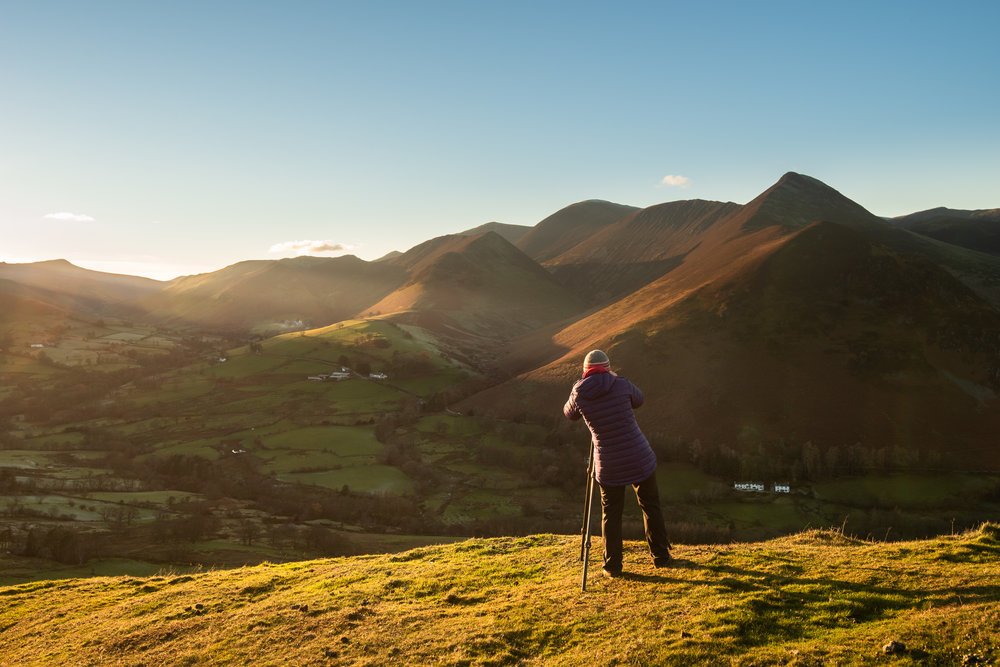 Jo capturing the last light over the stunning Newlands Valley