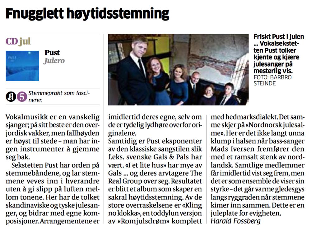 """Aftenpostens anmeldelse av """"Julero"""" fredag 25. november 2011."""