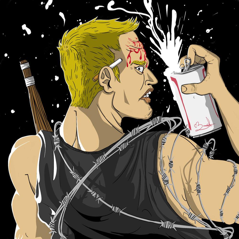 Sandman pro wrestler beer kendo stick barbed wire