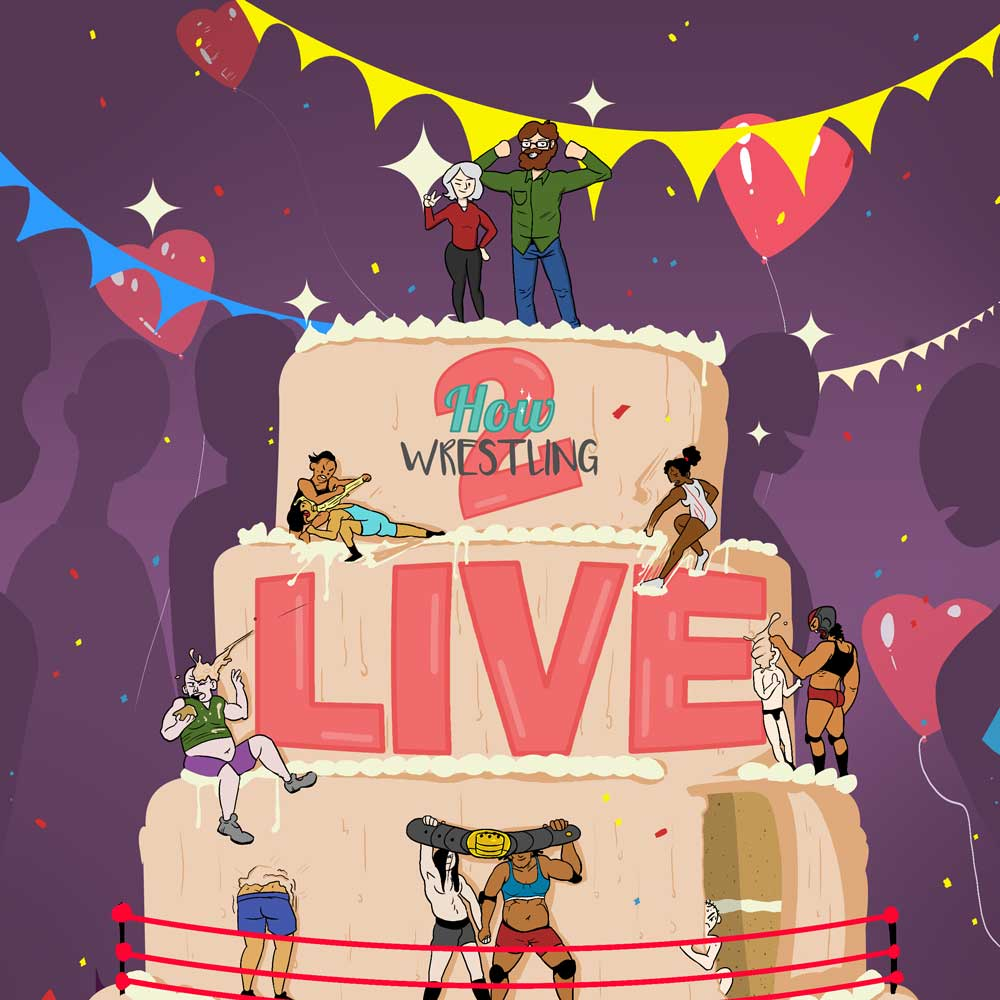 Jo and Kefin on a wedding cake covered in wrestlers