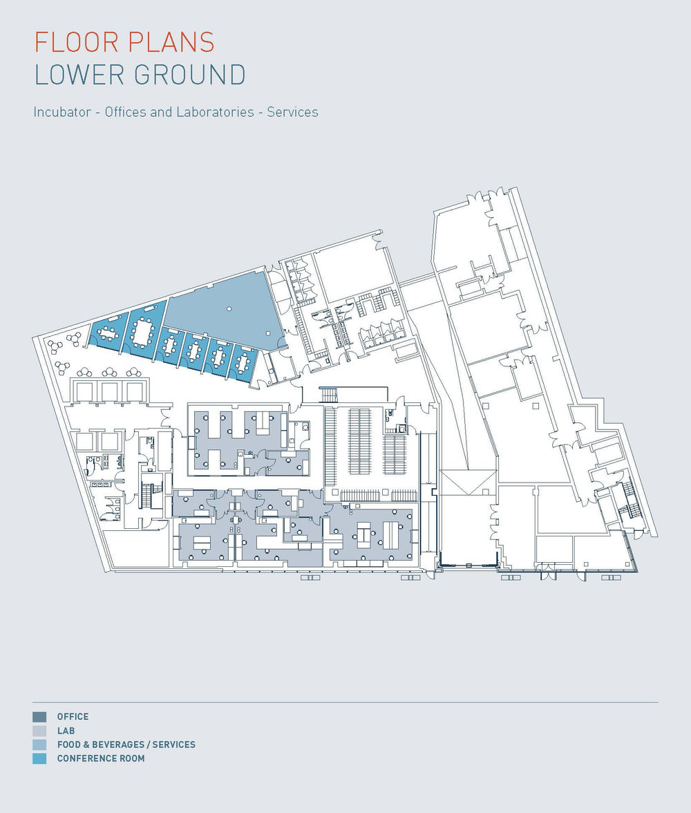 A floorplan of the lower ground floor of the I-HUB at Imperial White City Campus