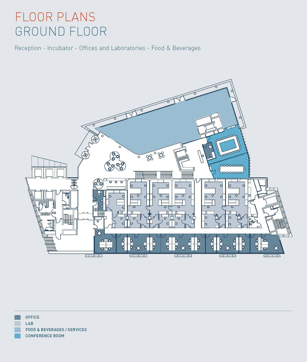 Floorplans of the Ground Floor of the I-HUB at the Imperial White City Campus