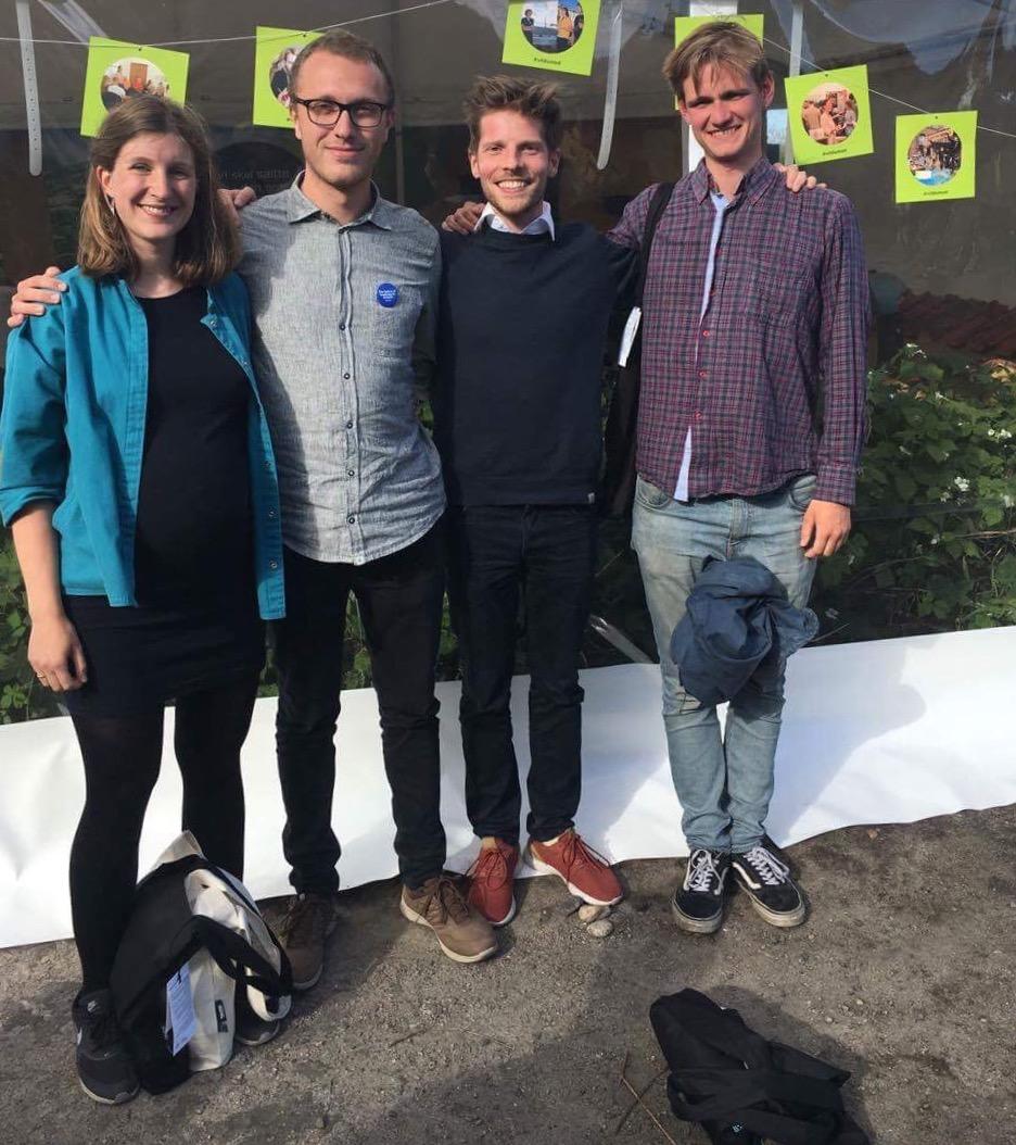 August i selskab med Jesper fra Fairdig Food, Emma fra Sustain Daily og Eske til folkemødet i Allinge på Bornholm, 2017.