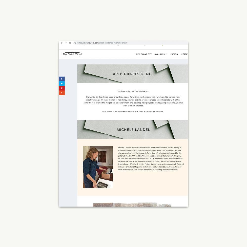 The Wild Word     digital journal Online artist-in-residence January - February 2018