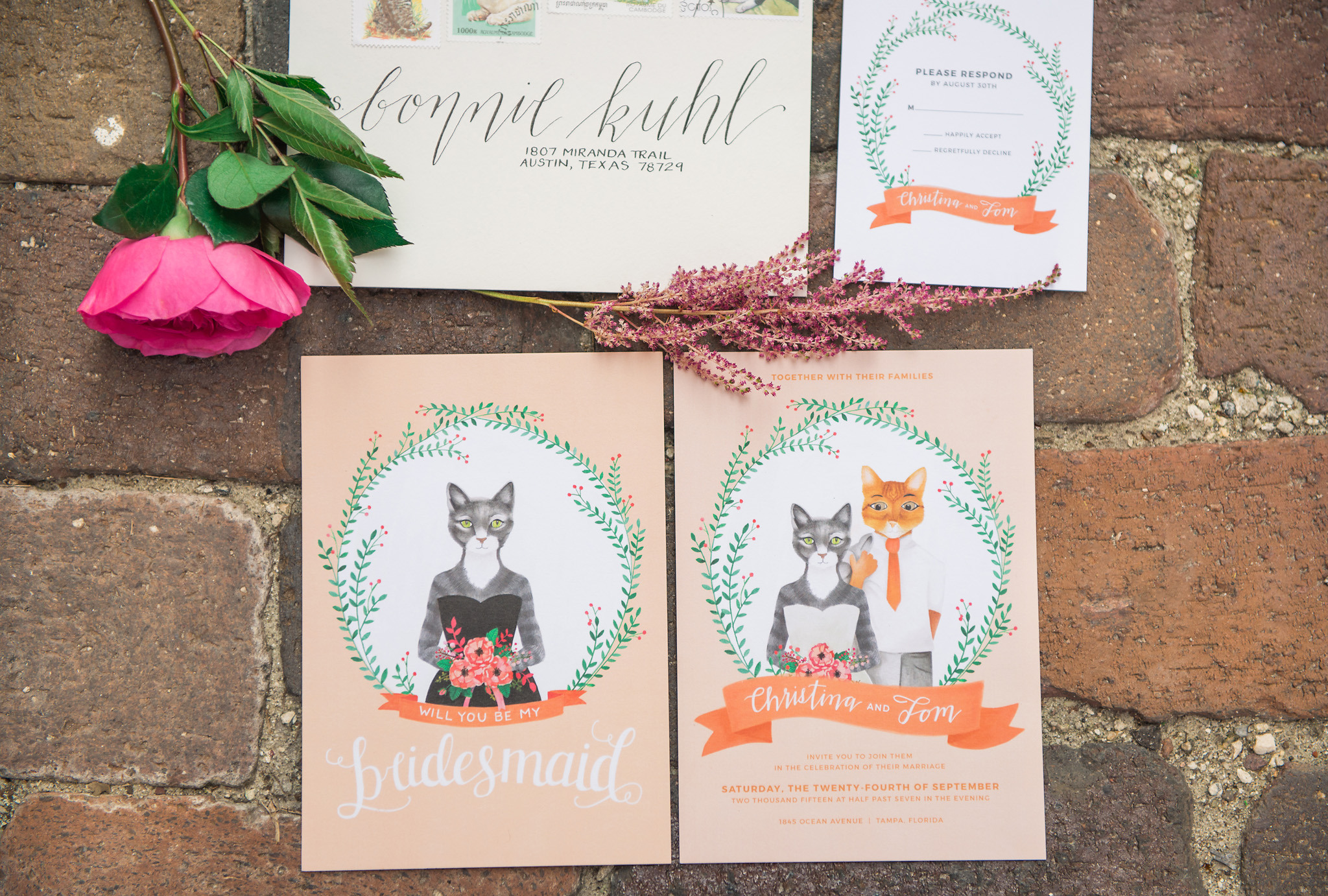 Cat Themed Wedding Invite