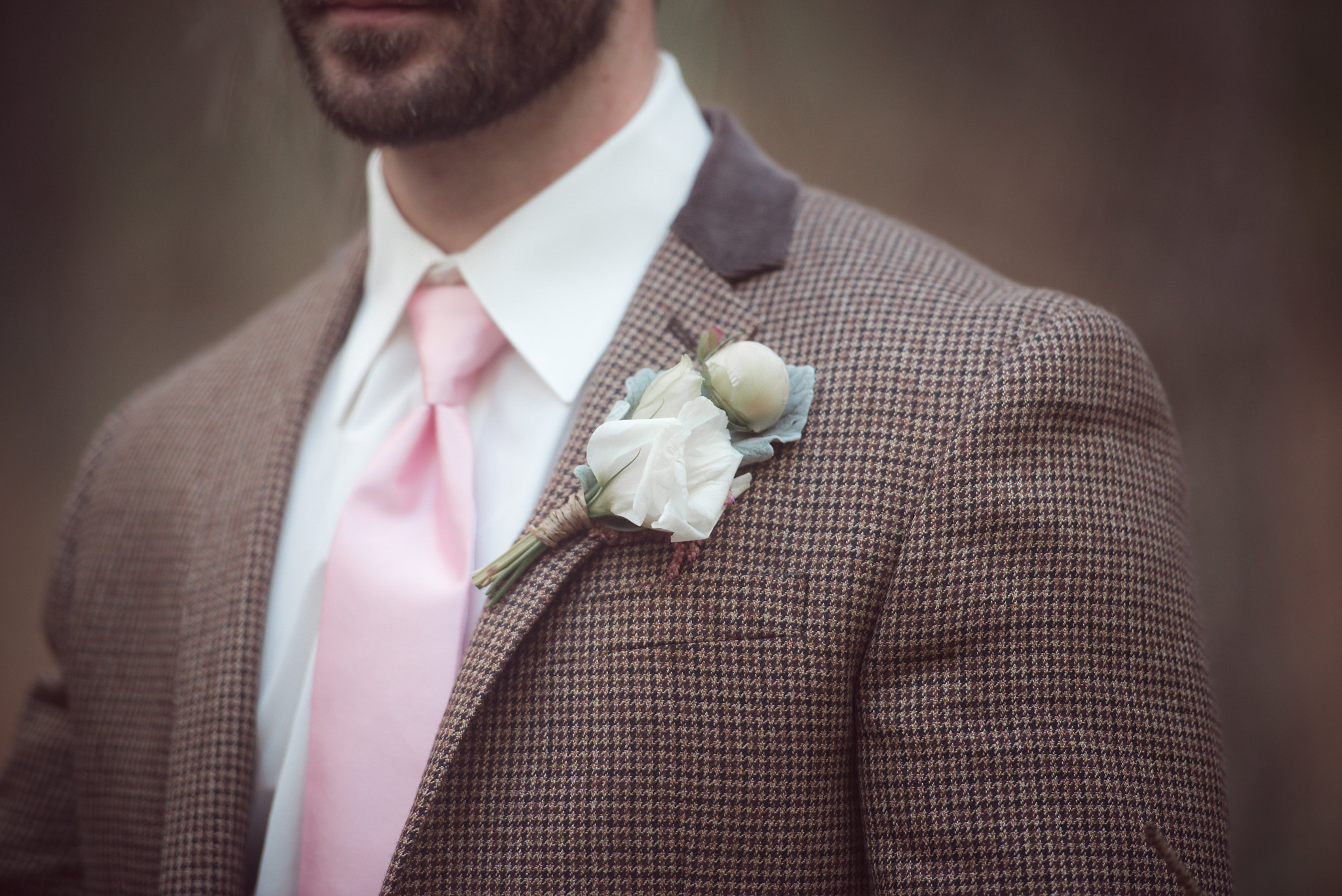 Pink and Tweed Groom