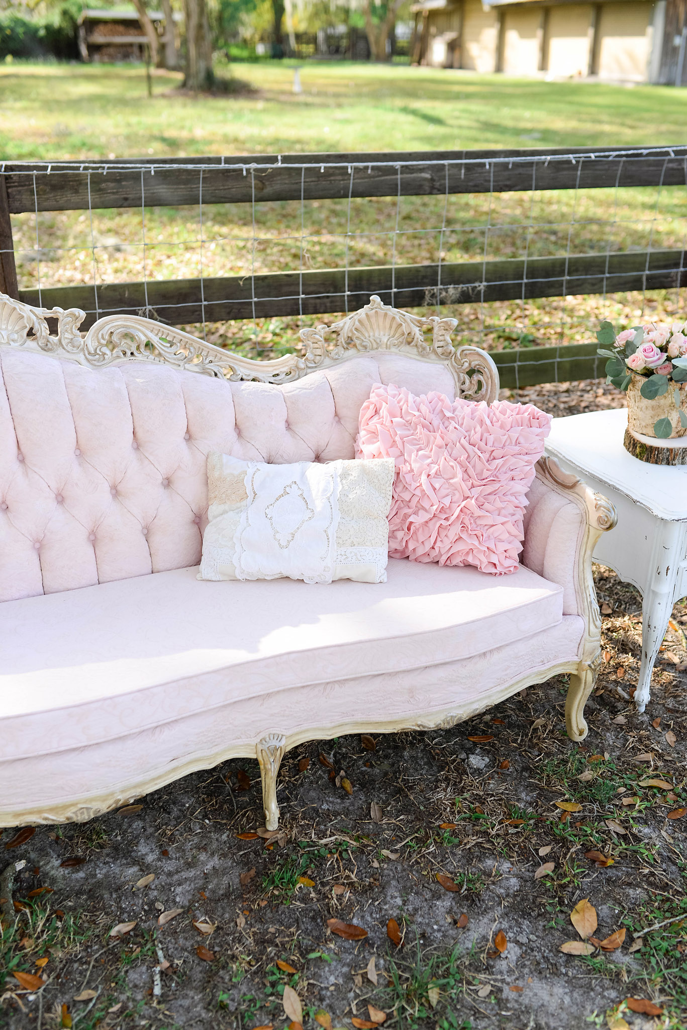 Vintage Blush and Gold Sofa