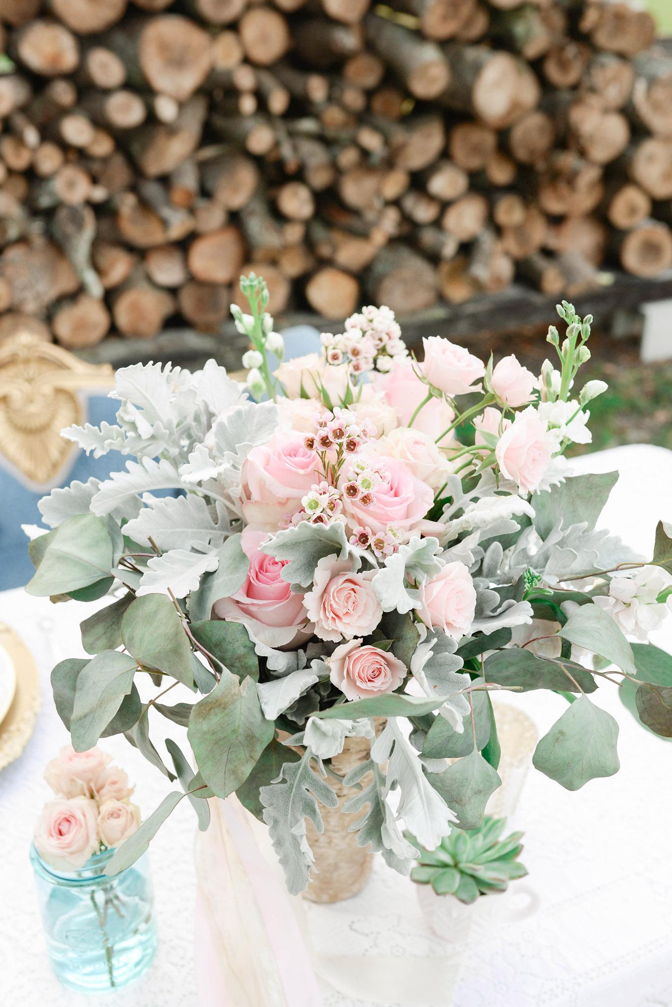 Stacked Wood Wedding Backdrop