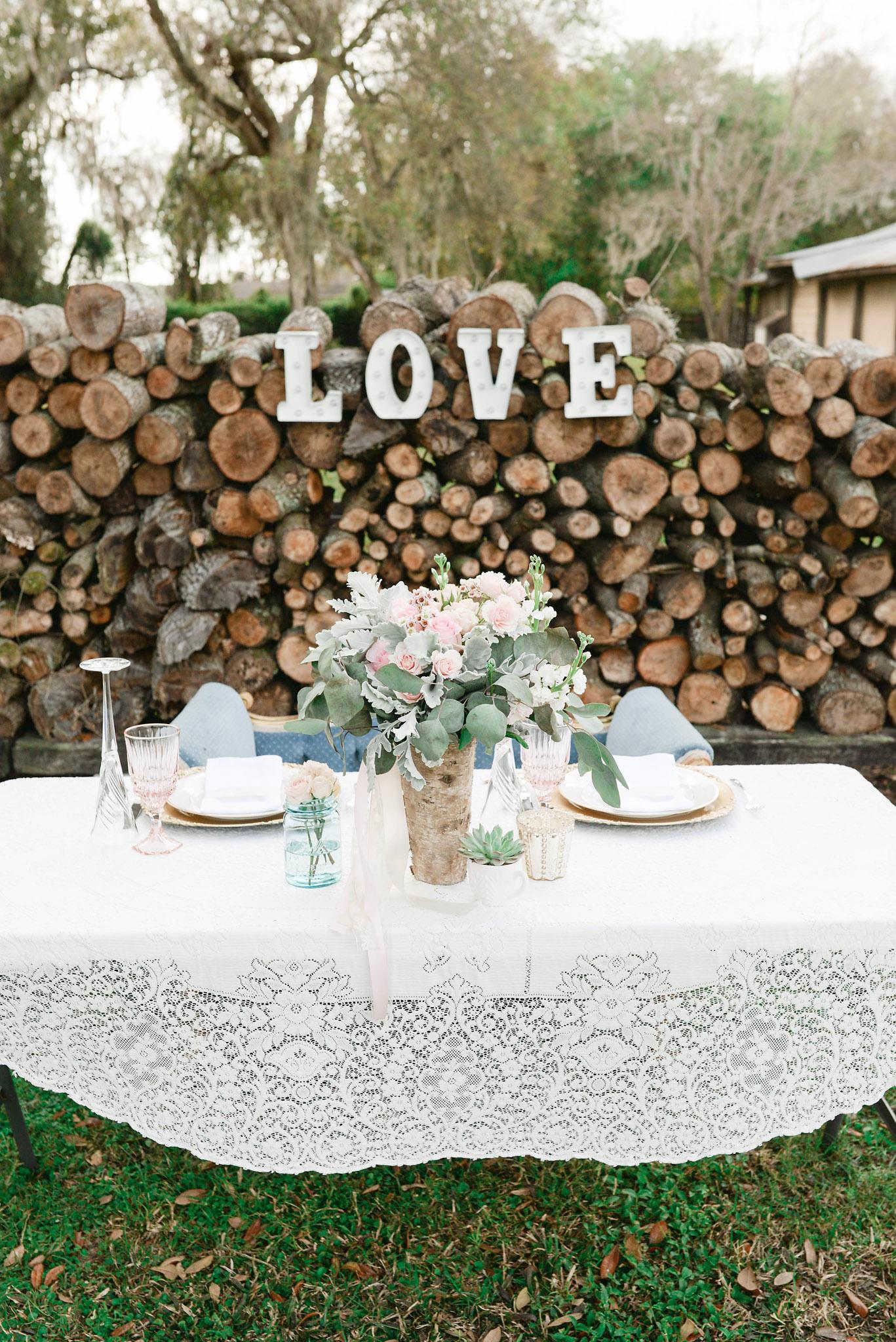 Wood Pile Wedding Backdrop