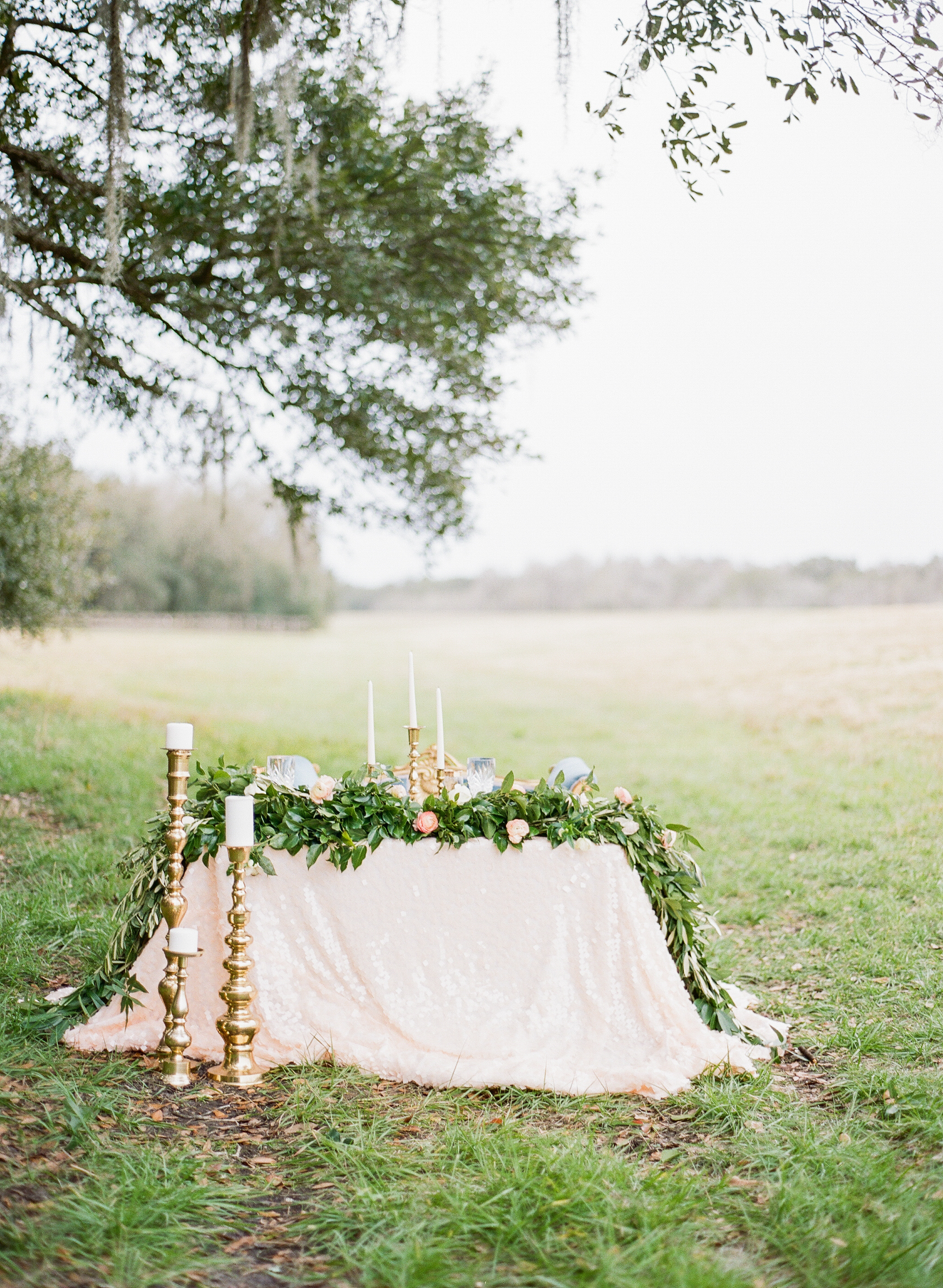 peach sequin table cloth