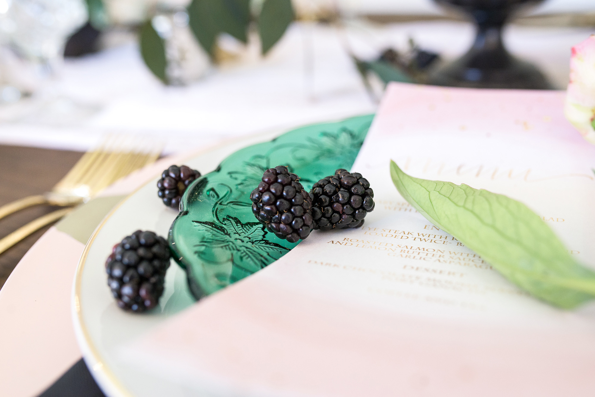 Emerald, Black and Blush Wedding
