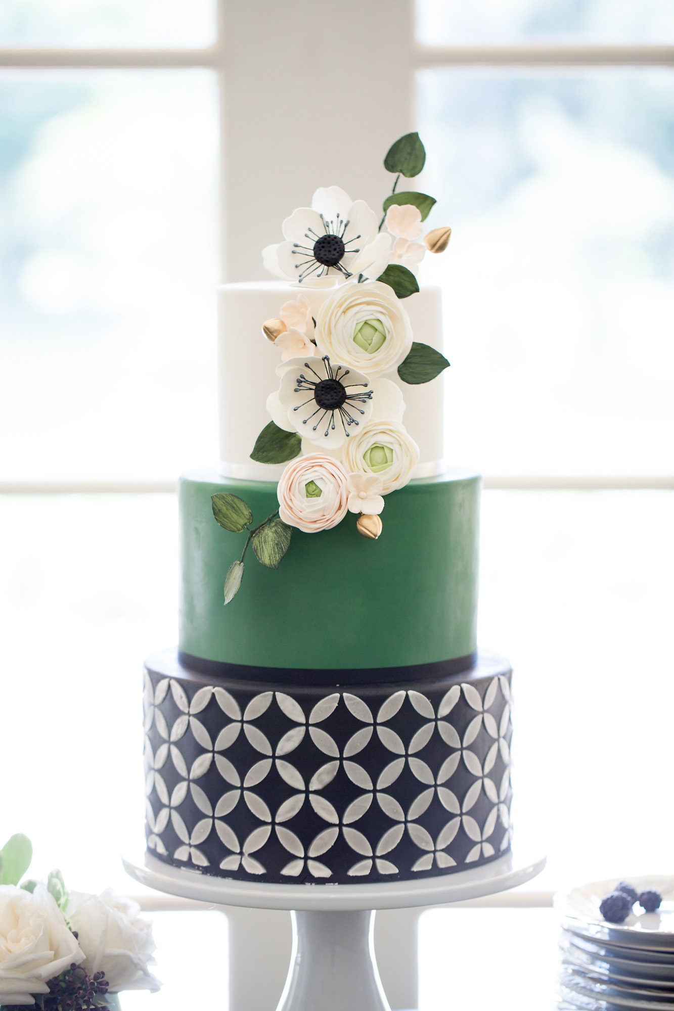 Emerald and Black Geometric Cake