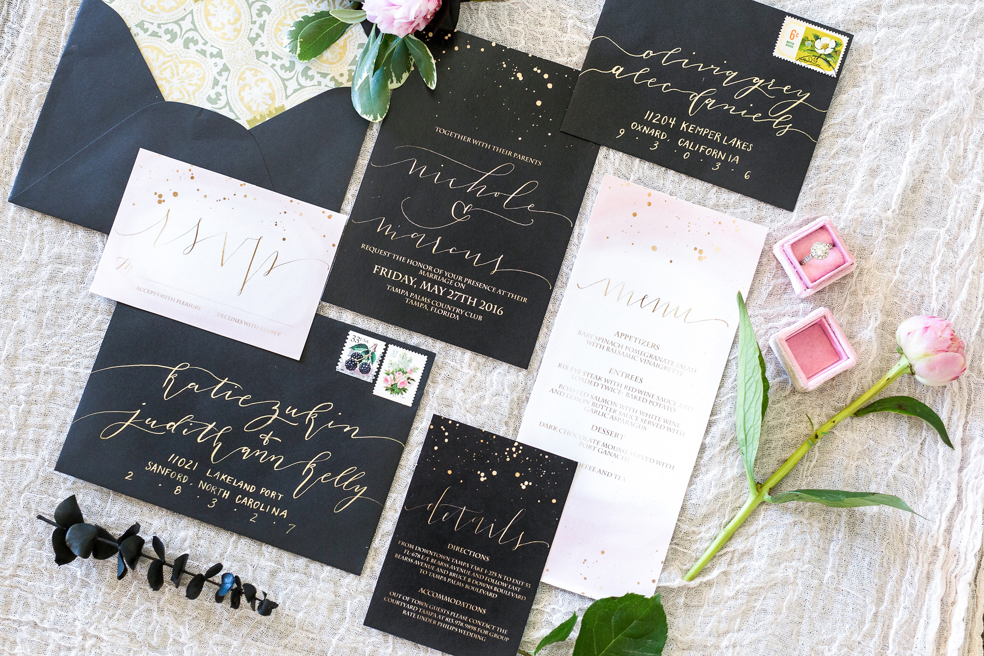 Black, gold and blush invitation