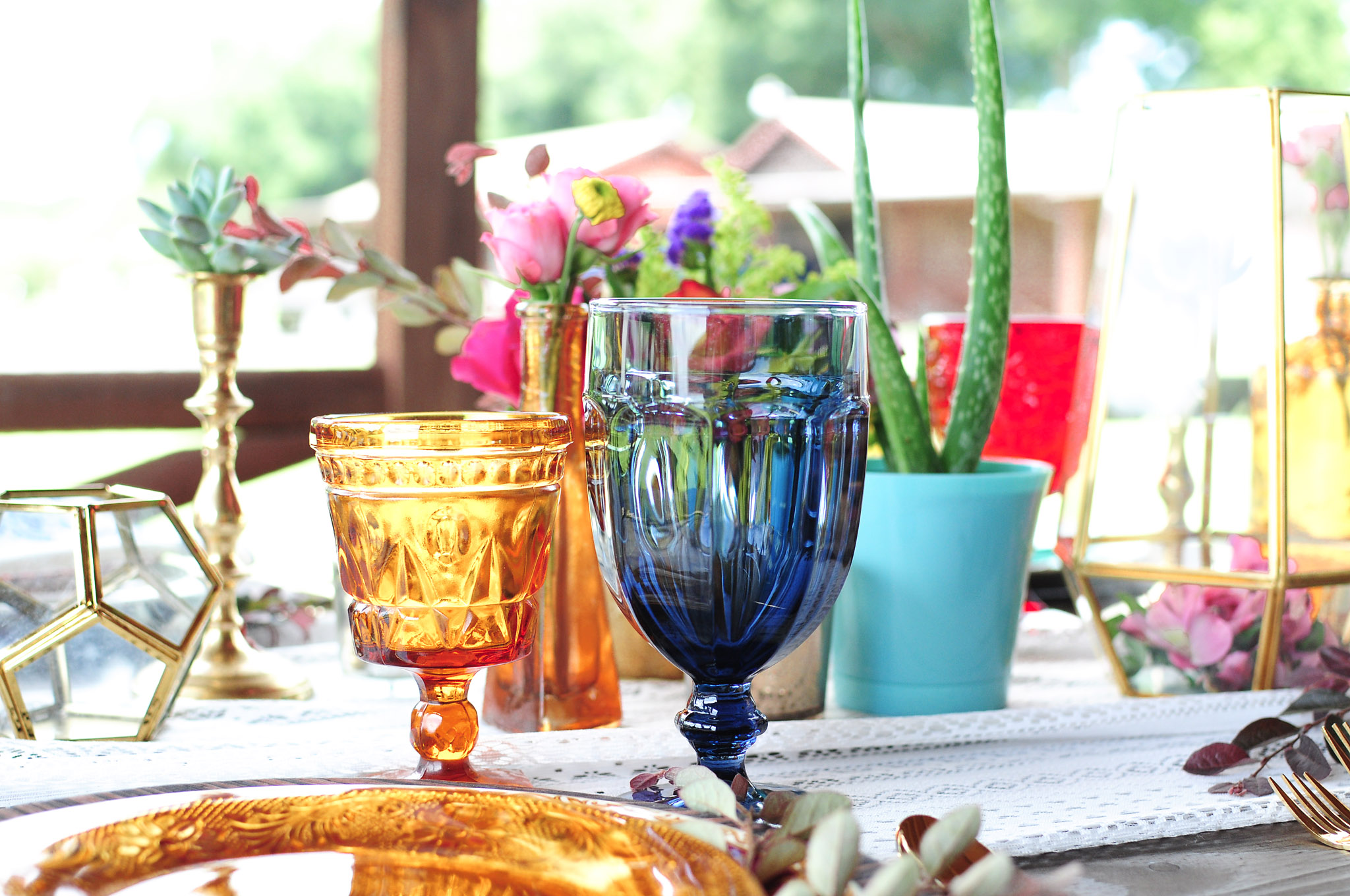 Vintage Colored Goblets