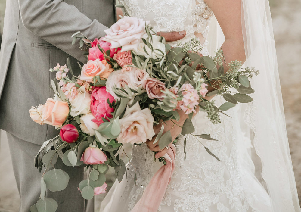 Peach and Mauve Wedding Bouquet