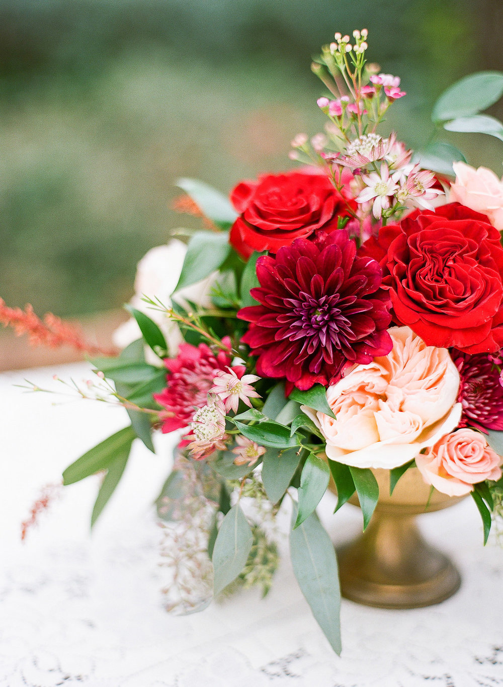 Burgundy and Peach Centerpiece