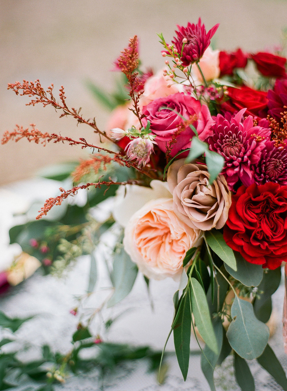 Burgundy, Mauve and Peach Florals