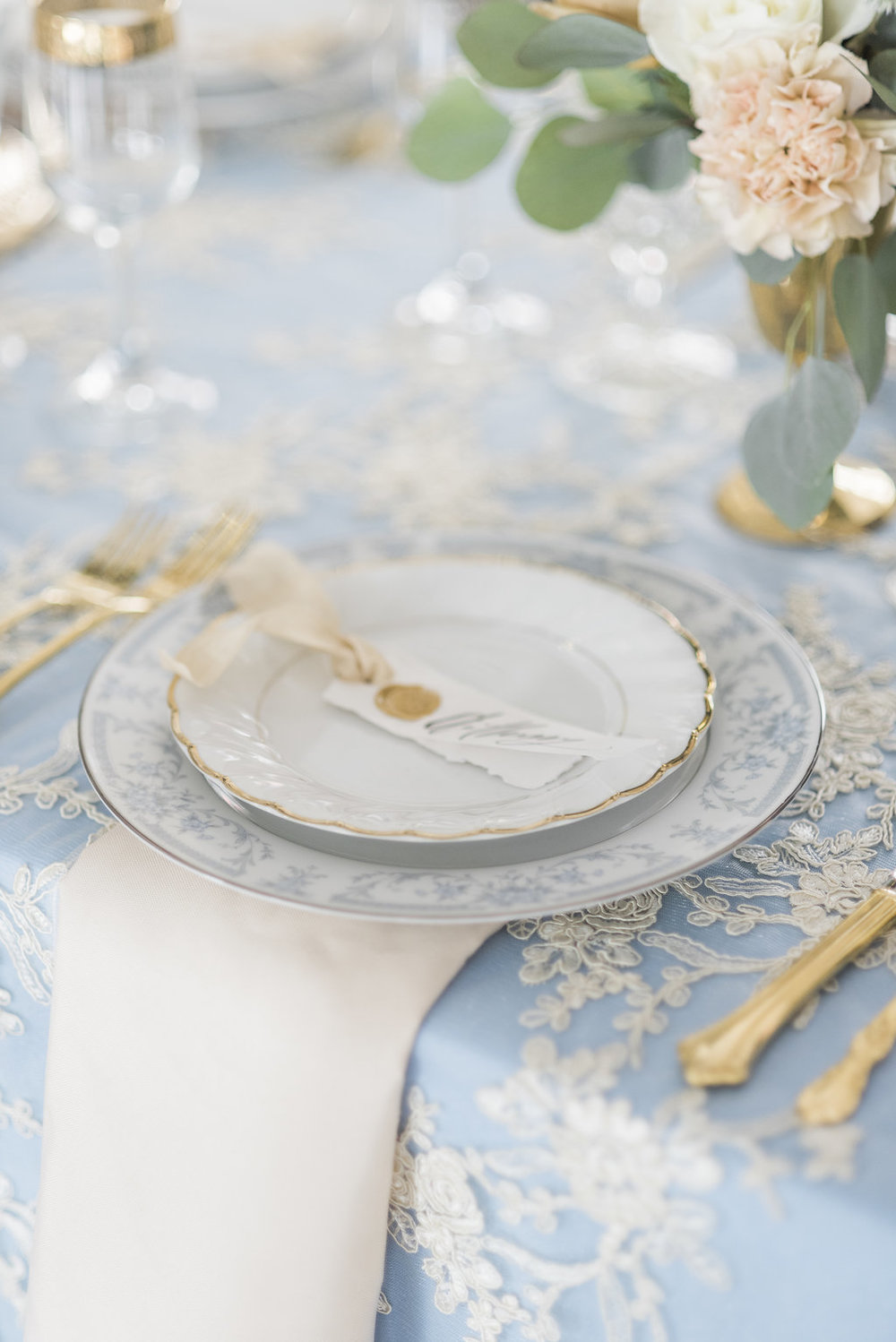 White and Blue Linen