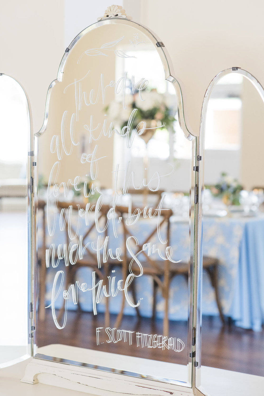 Blue and Beige Wedding Decor