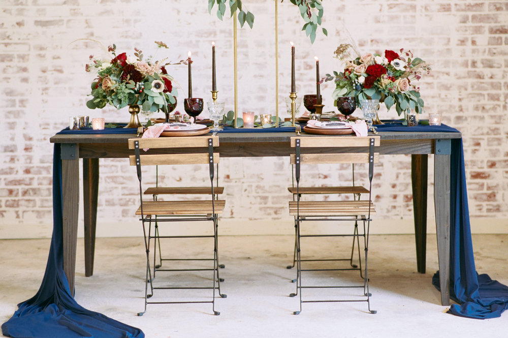 Industrial Navy Wedding Decor