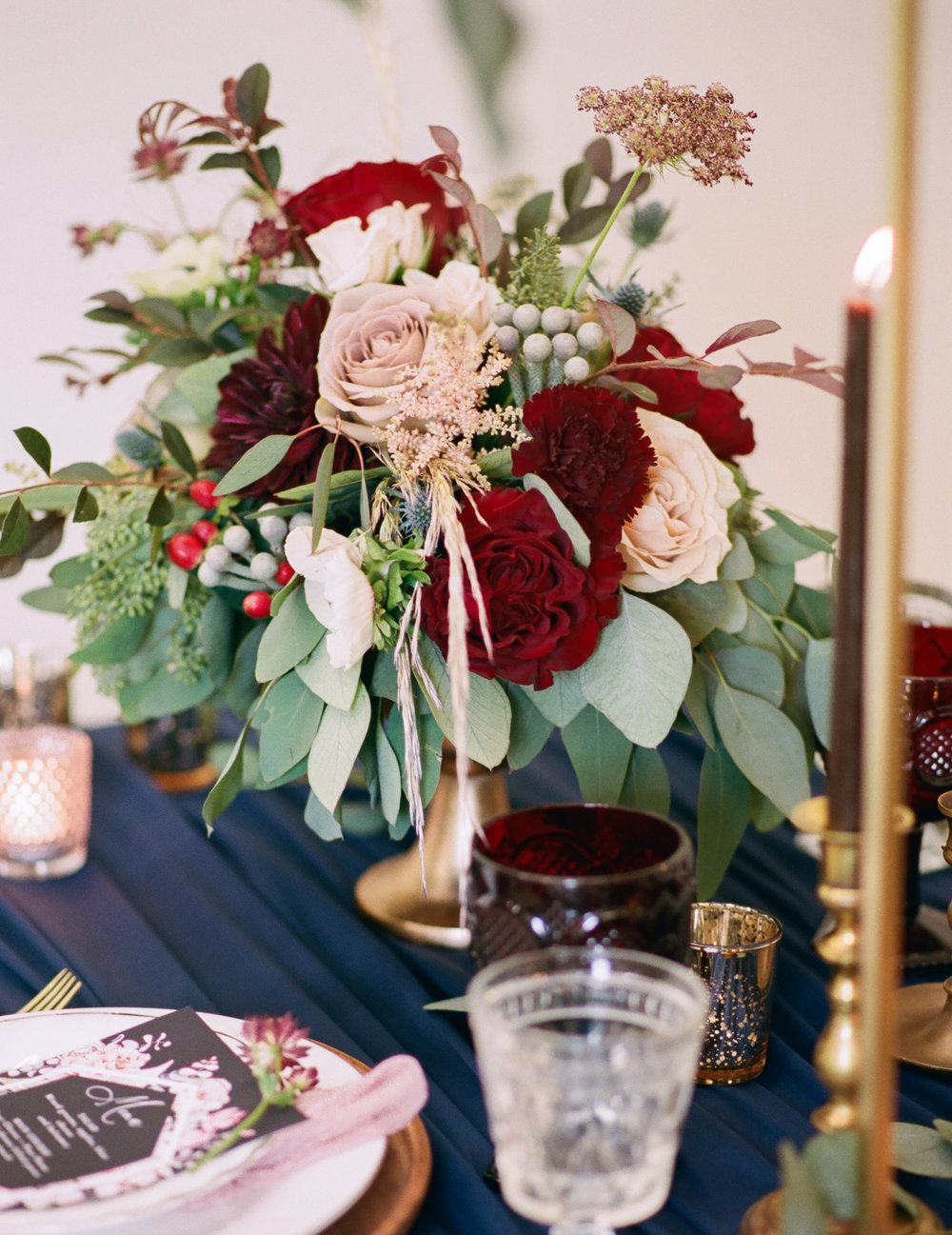 Burgundy and Mauve Centerpiece