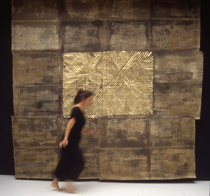 Ziggurat #1 (Brown with Gold) 12'x12' | Handmade paper | Susan Singleton