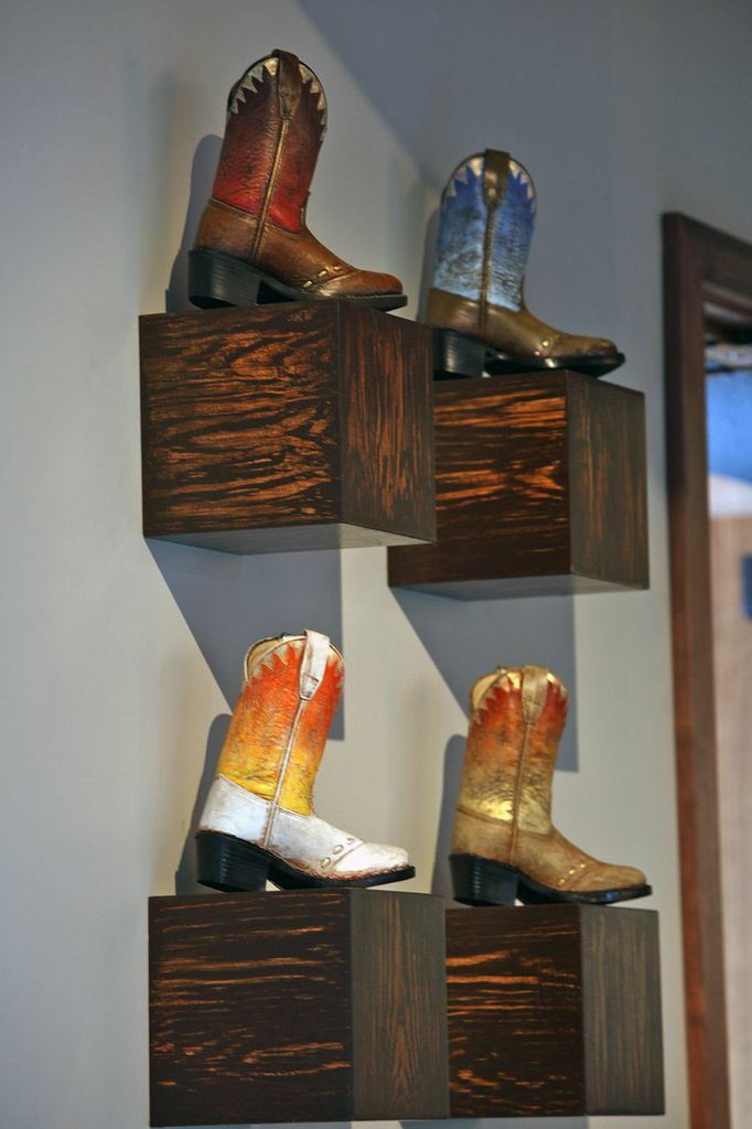 """Approx. 12""""x8""""  Hand-painted boots by James Angel"""