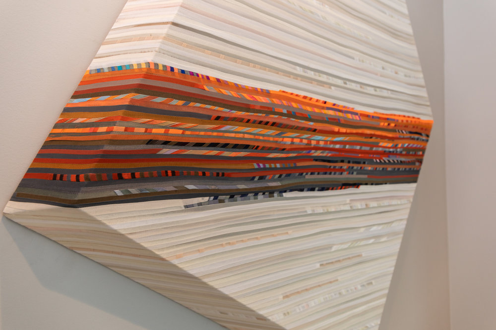 Close Up of Fabric Wrapper Wood Sculpture by Jenn Pack