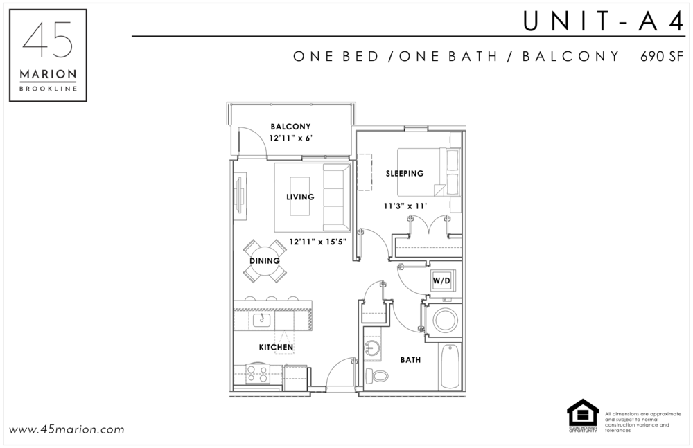 One Bed / One Bath / Balcony