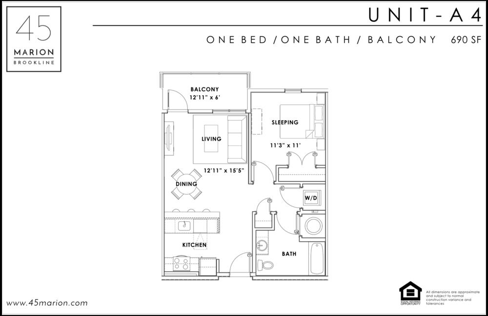 One Bed / One Bath / Balcony