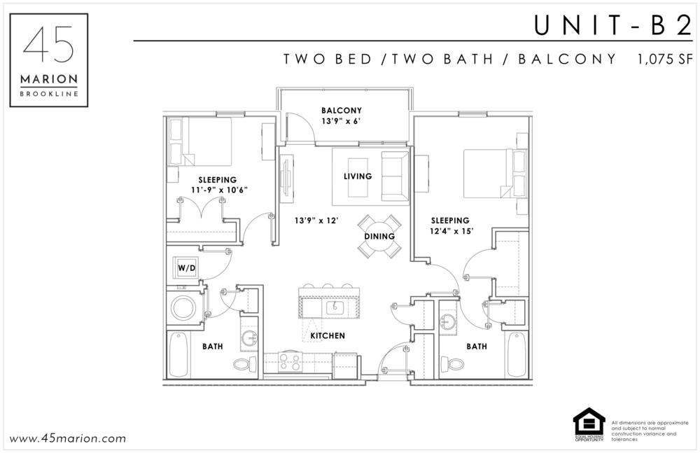 Two Bed / Two Bath / Balcony