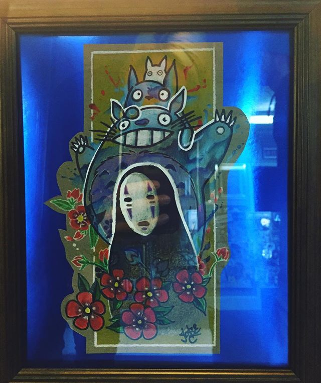 This photo does not so this #ghibli art piece by @select.tattoo_vtk justice. It will sell quick. Come by before its gone #vtk #texasartists #virtuosotattookrew