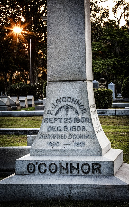 Headstone of P.J O'Connor, Catholic Cemetery, Savannah, Georgia.