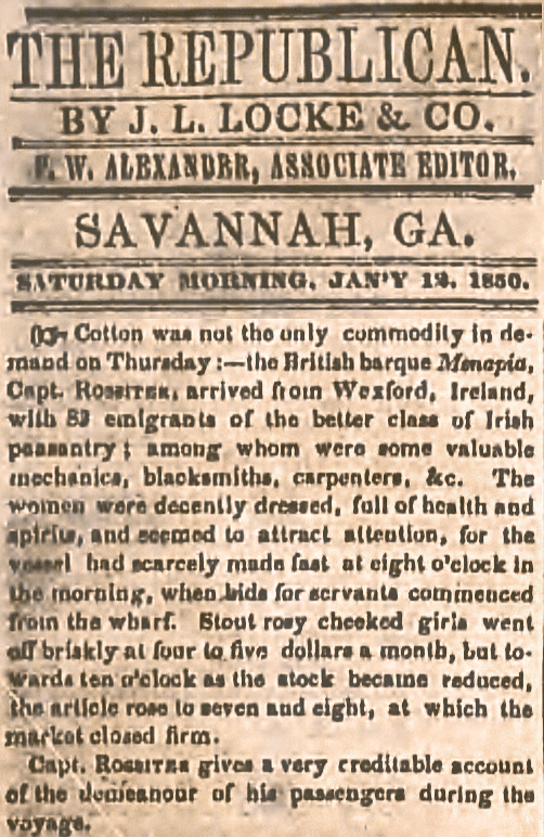 The (Savannah) Daily Republican  (12 January 1859), p. 2.