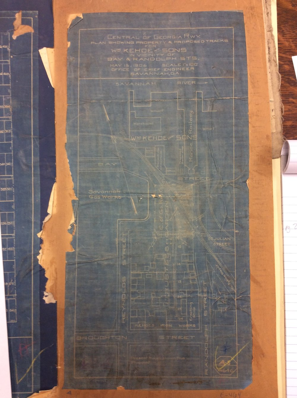 """Blueprint of Kehoe Iron Works."" (1906). East/West Maps, City of Savannah Municipal Archives and Research Library, Savannah, Georgia."