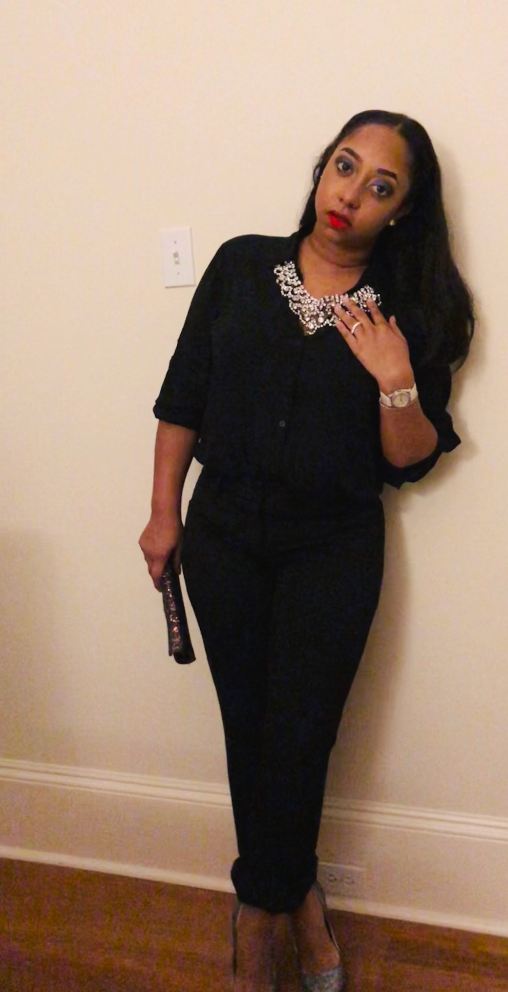 """On my way to a friend's wedding and of course """"there was nothing in my closet to wear"""". You can NEVER go wrong with black. Black is my go-to. But there was a certain look I was going for …  My top is a dressy button up from  Express . I've had these pants for so long that I don't remember where I got them from. You can find black slacks from anywhere. My crossbody (I used it as a clutch) I got from a local boutique called  Frock Candy.  Got my shoes from  Steve Mdden  and thankfully my clutch went well with it. I got my necklace years ago from  BCBG . I wore it to the Espy's after my husband and the Saints won the Super Bowl in 2010.  I wore this (my all black) to a wedding and many of the other beautiful ladies there wore dresses. I rarely EVER wear dresses. I probably have about 6 dresses in total 😂. That just isn't me. Don't get me wrong now, if I'm in the mood I will slide my ass in a dress 😩😂. But …. All black is not only for death …. You can make it work for ANYTHING you want!  How do you feel about all black?  ❤️Feel Free to comment and share❤️"""