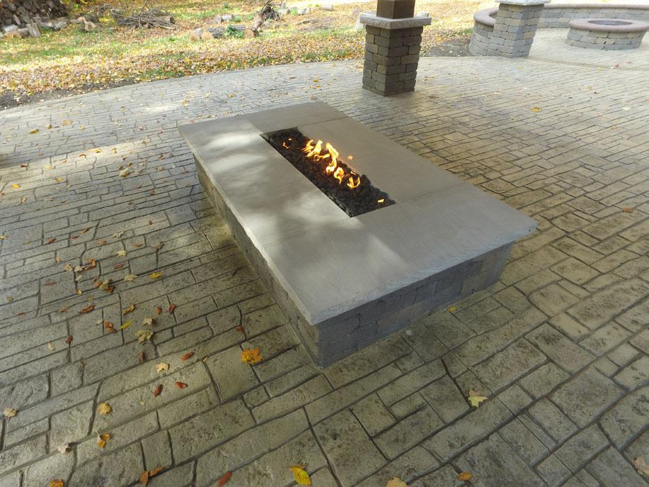 Neltner Custom Gas Fire Pi tLimestone Shelf