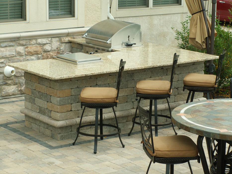 Sell Built-In Grill Island with Bar Stools