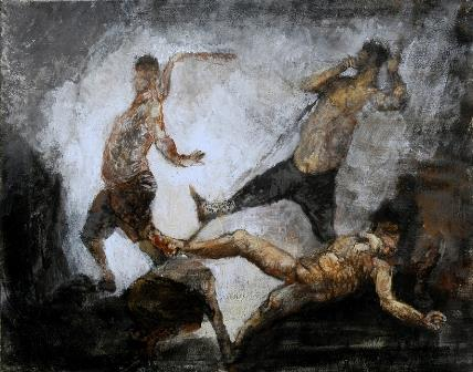 Title: Scourging  Medium: Acrylic on canvas  Size: 16 x 20 inches  Year: 2003