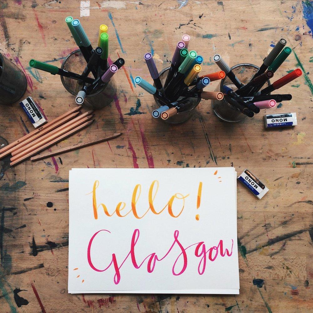 creative workshops glasgow edinburgh newcastle tombow ABT brush markers katie chappell illustrator.JPG